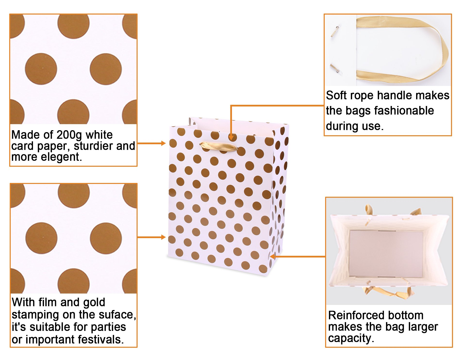 Gift Bags 5.25x3.75x8'' Paper Shopping Bags 12 Gift Boutique Small Metallic Gold Silver Gift Bags Polka Dot Gift Bags Perfect for Weddings, Birthday, Graduation, Gift Wrap Bags by BagDream (Image #3)