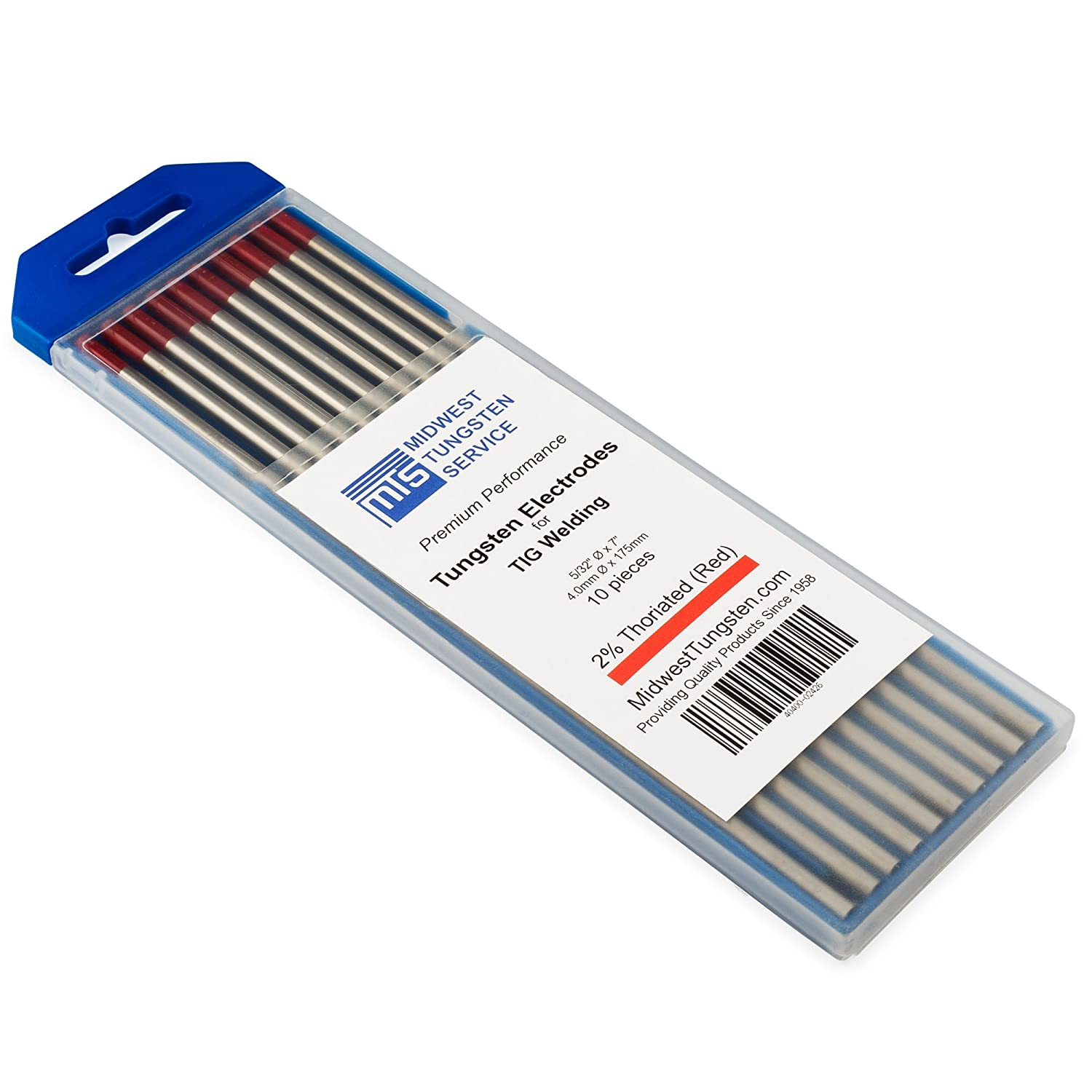 """Red, WT20 TIG Welding Tungsten Electrodes 2/% Thoriated 1//16/"""" x 7/"""" 10-Pack"""