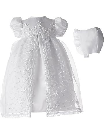 02ac8b9aaf221 Lauren Madison baby girl Christening Baptism Newborn Embroidered Satin Dress  Gown