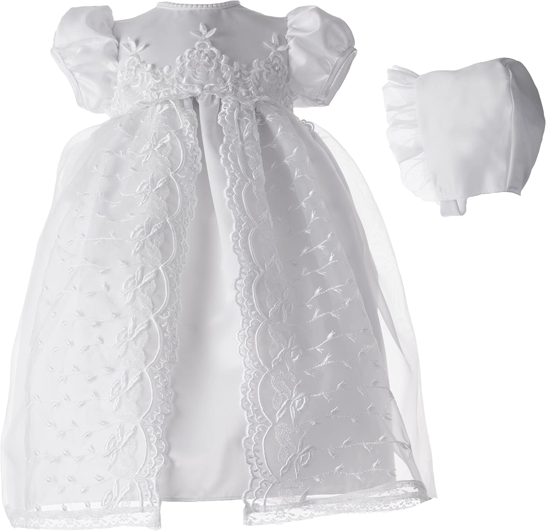Lauren Madison baby girl Christening Baptism Newborn Embroidered Satin Dress Gown