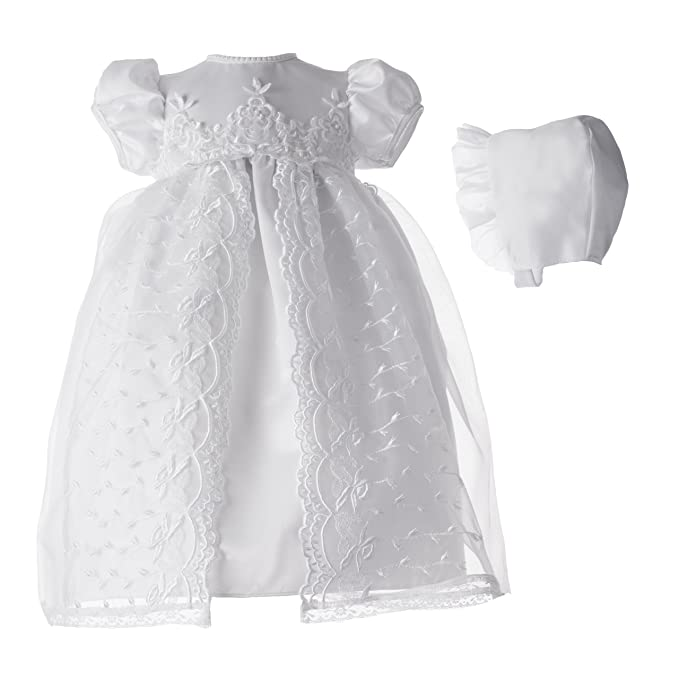 87c6eefc6 Lauren Madison Baby Girl Christening Baptism Newborn Embroidered Satin Gown,  White, 9-12 Months: Amazon.ca: Clothing & Accessories