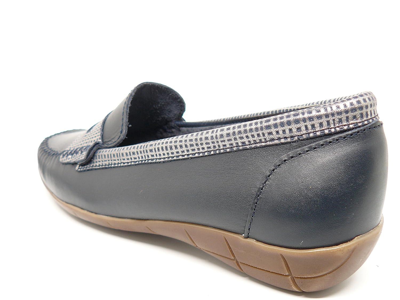 Zapato Mujer Casual Mocasin Marca DELTELL en Piel Azul Marino Banda ...