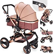 Happybuy Baby Stroller 2 in 1 Portable Baby Carriage Stroller Anti-Shock Springs Foldable Luxury Baby Stroller Adjustable High View Pram Travel System Infant Carriage Pushchair