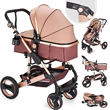 f397924672fa VEVOR Foldable Luxury Baby Stroller Travel System with Anti-Shock Springs  Newborn Baby Pushchair Adjustable