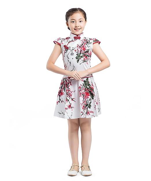 AKAAYUKO Niños Niñas Tradicional Chino Qipao Vestido Cheongsam Traje   Amazon.es  Ropa y accesorios fa4701b9856