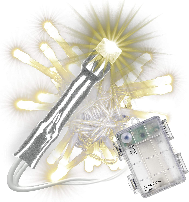 Nipach Gmbh 30 Led Lichterkette Warm Weiß Mit Timer Für Innen Aussen Transparentes Kabel Batterie 3 Meter Weihnachtsdeko Partydeko Partylichter Xmas Küche Haushalt
