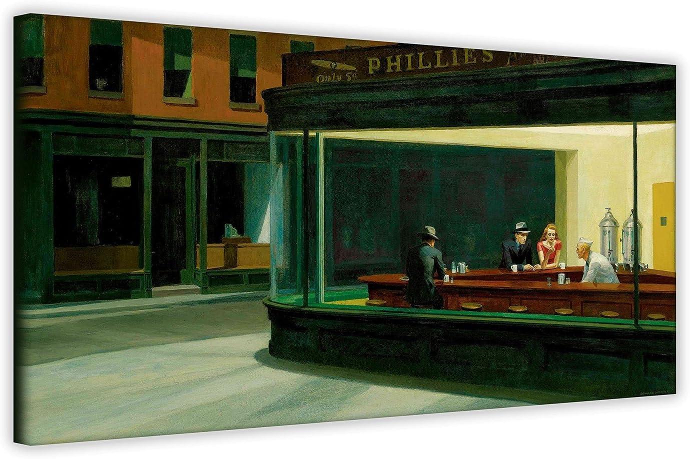 Cuadro en lienzo «Noctámbulos» de Edward Hopper, para decoración de pared, lona, 40