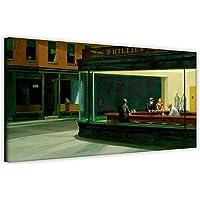 Stampa artistica su tela, Nighthawks di Edward Hopper, decorazione per la casa