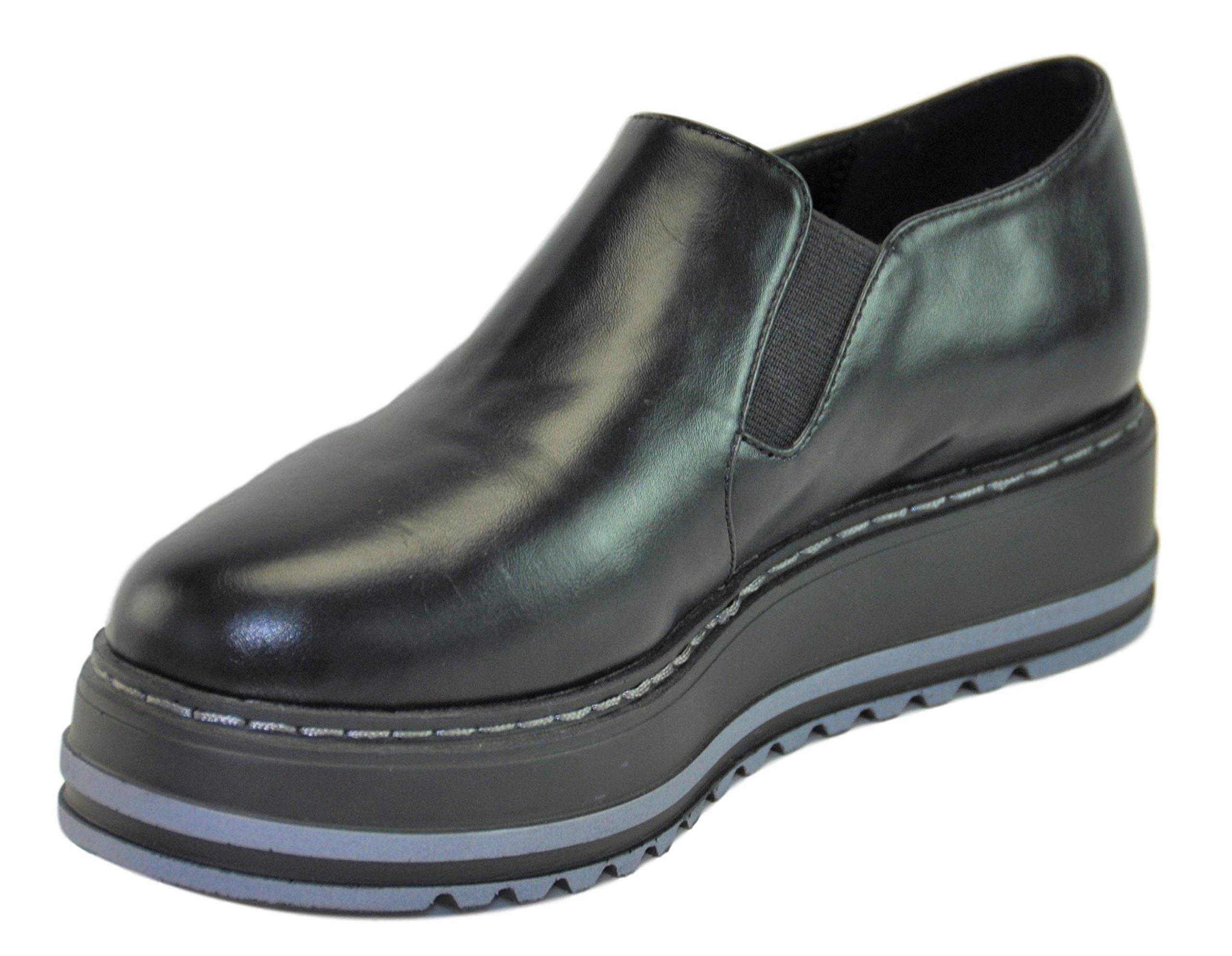 Lynda Black Quality Prime Fashion Slip On Clearance Sale High Heel Creeper Platform Wedge Summer School Oxford Zapatos de Plataforma para Ninas for Youth Teen Girls Women Mujer (Size 5.5, Black) by BDshoes (Image #3)