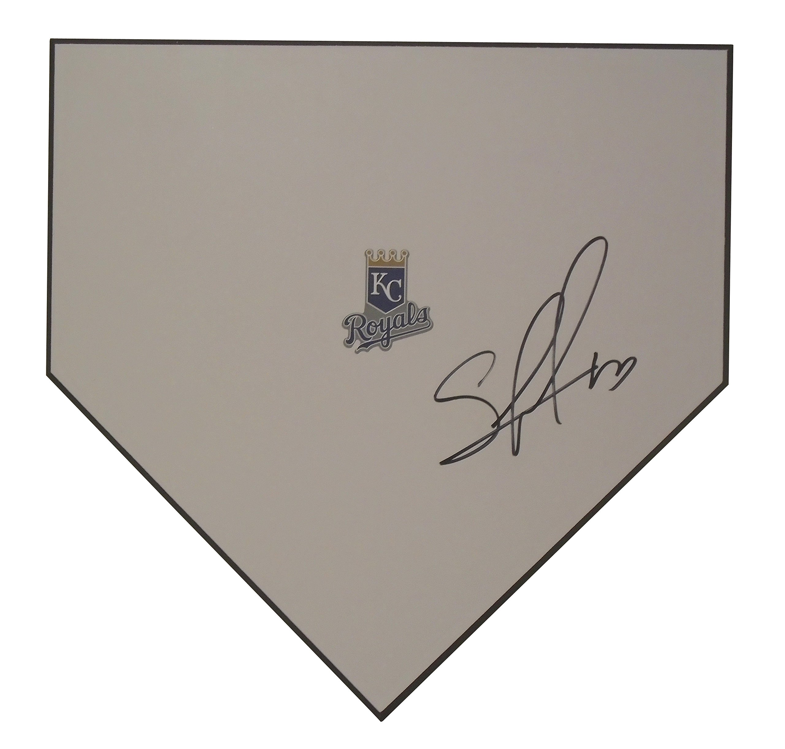 Kansas City Royals Salvador Perez Autographed Hand Signed KC Royals Logo Baseball Home Plate Base with Proof Photo of Signing and COA