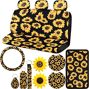 BBTO 14 Pieces Sunflower Car Accessories Including Sunflower Rear Seat Covers Sunflower Steering Wheel Covers Sunflower Center Armrest Pad Covers and Car Air Freshener Sunflower Clips for Car Decor