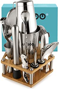 ARSSOO Boston Cocktail Shaker Set. 16PC Bartender Kit with Stand. Weighted Boston Shaker, Double Jigger, Muddler, Citrus Juicer, Ice Tongs, Bar Spoon, Alcohol Liquor Bottle Pourers, Drink Shaker Tools