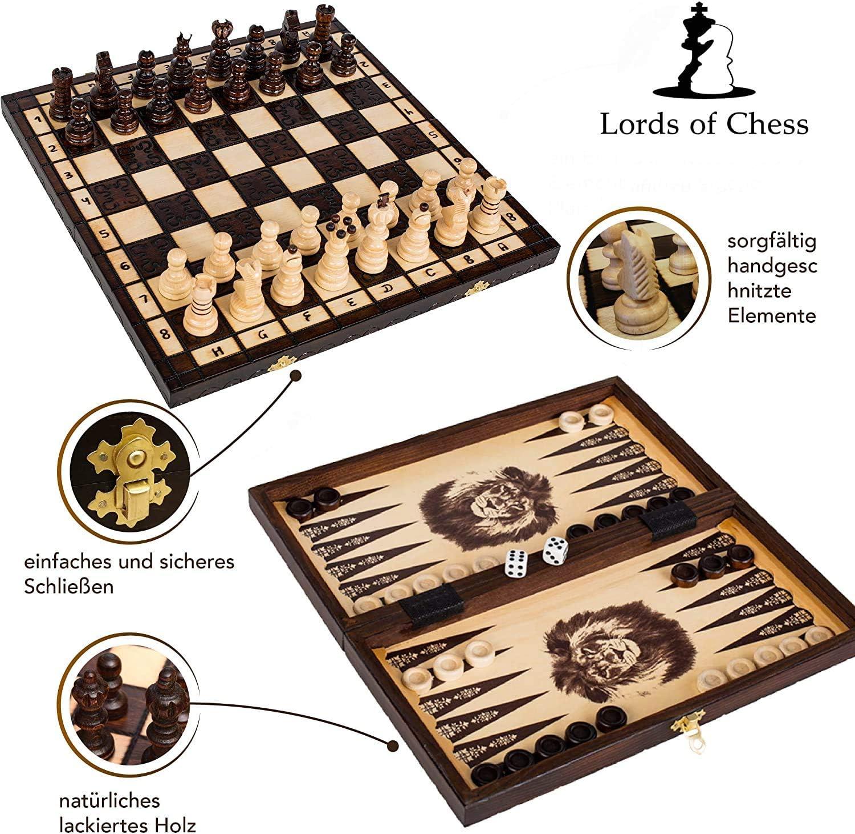 Anf/änger klappbares Erwachsene Reise Schach mit Klappbar Schachbrett Schachspiel aus Holz mit Figuren 3 in 1 Schachspiel Dame Spiel Backgammon f/ür Kinder und Erwachsene Schach f/ür Kinder