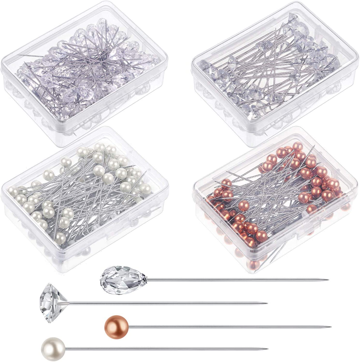 300 PCS 3 Styles White Pearl Corsage Pins Wedding Flower Bouquet Round Glass Ball Head Diamond Head Teardrop Head Straight Pins with Transparent Box for Weddings Anniversary Flower Decoration