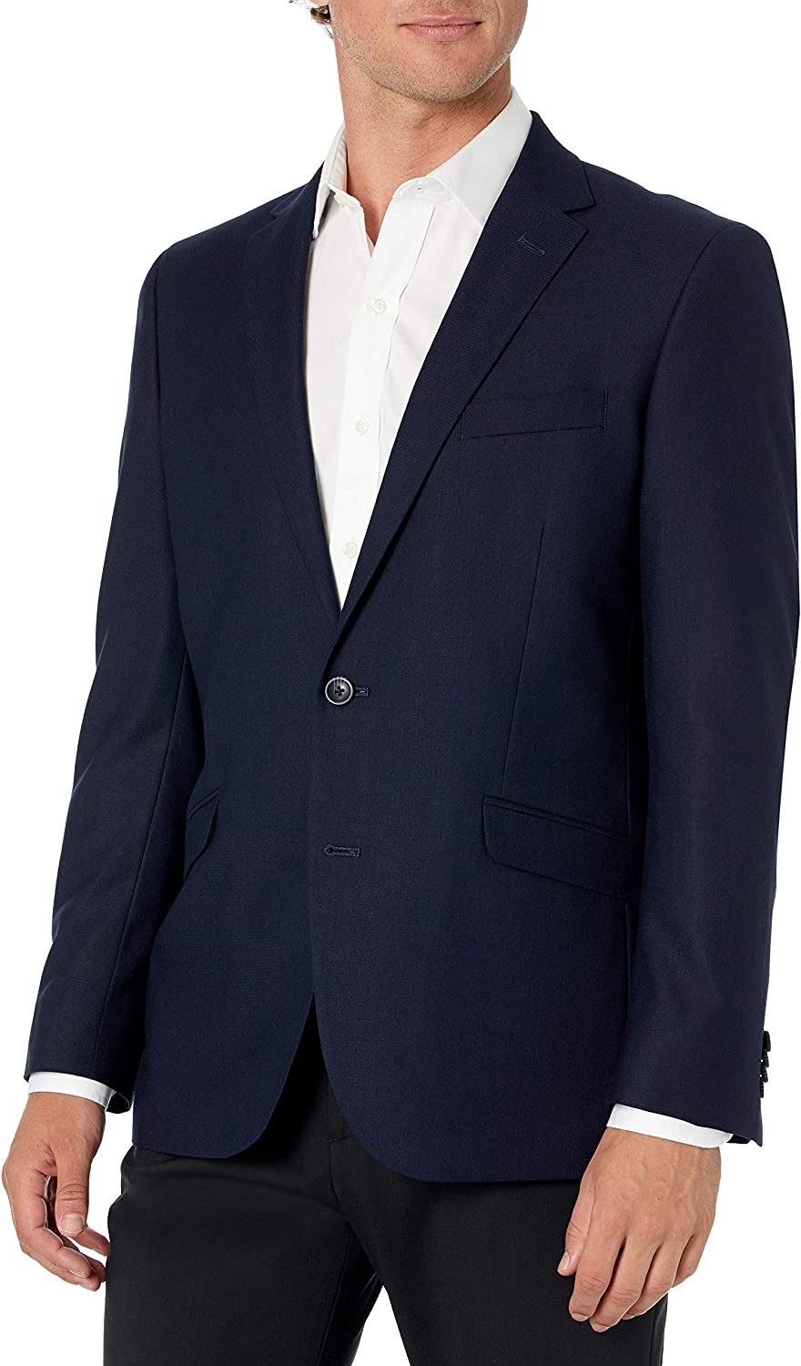Kenneth Cole REACTION Men's Techni-Cole Stretch Slim Fit Suit Separate Blazer (Blazer, Pant, and Vest), Navy, 40 Long