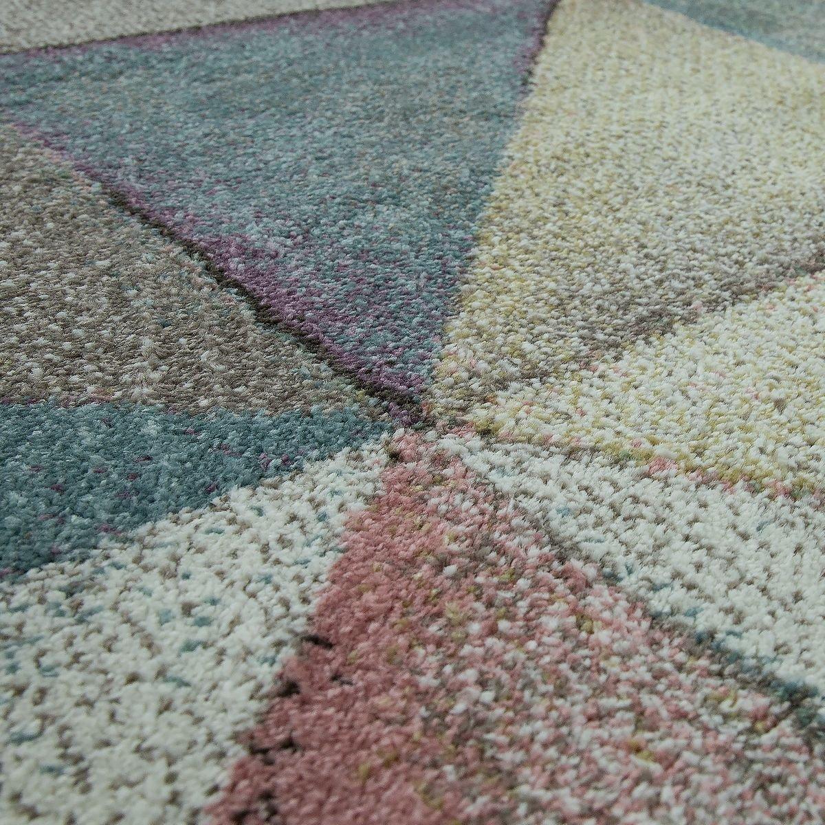TT Home Moderner Kurzflor Teppich Pastellfarben Pastellfarben Pastellfarben Geometrisches Design Multicolor Bunt, Größe 120x170 cm 953a28