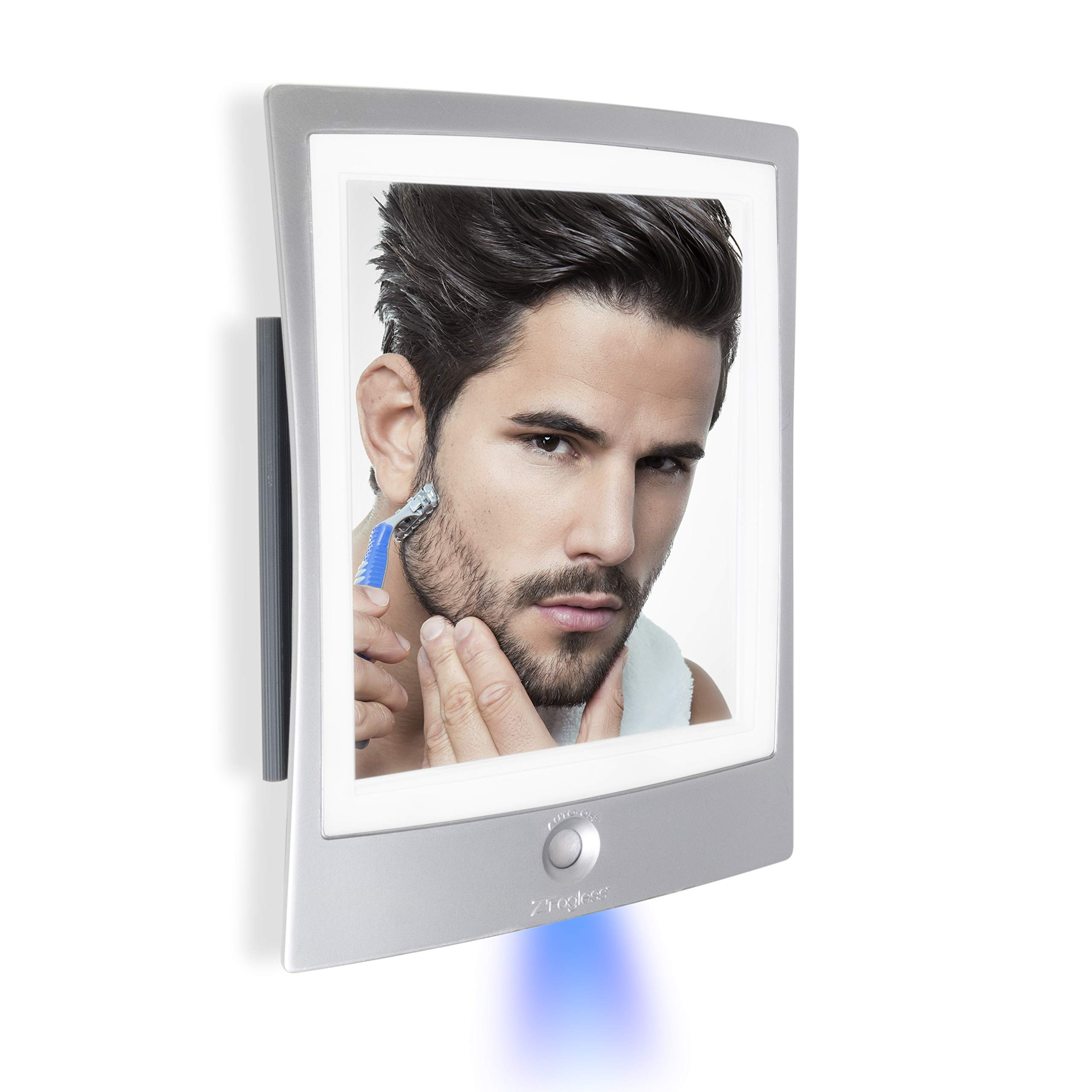 Zadro Products ZWTAR20S Rechargeable LED Lighted Fogless Shower Shaving Mirror, Silver & White by Zadro