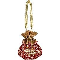 Anekaant Lotus Artsilk Party Potli Bag