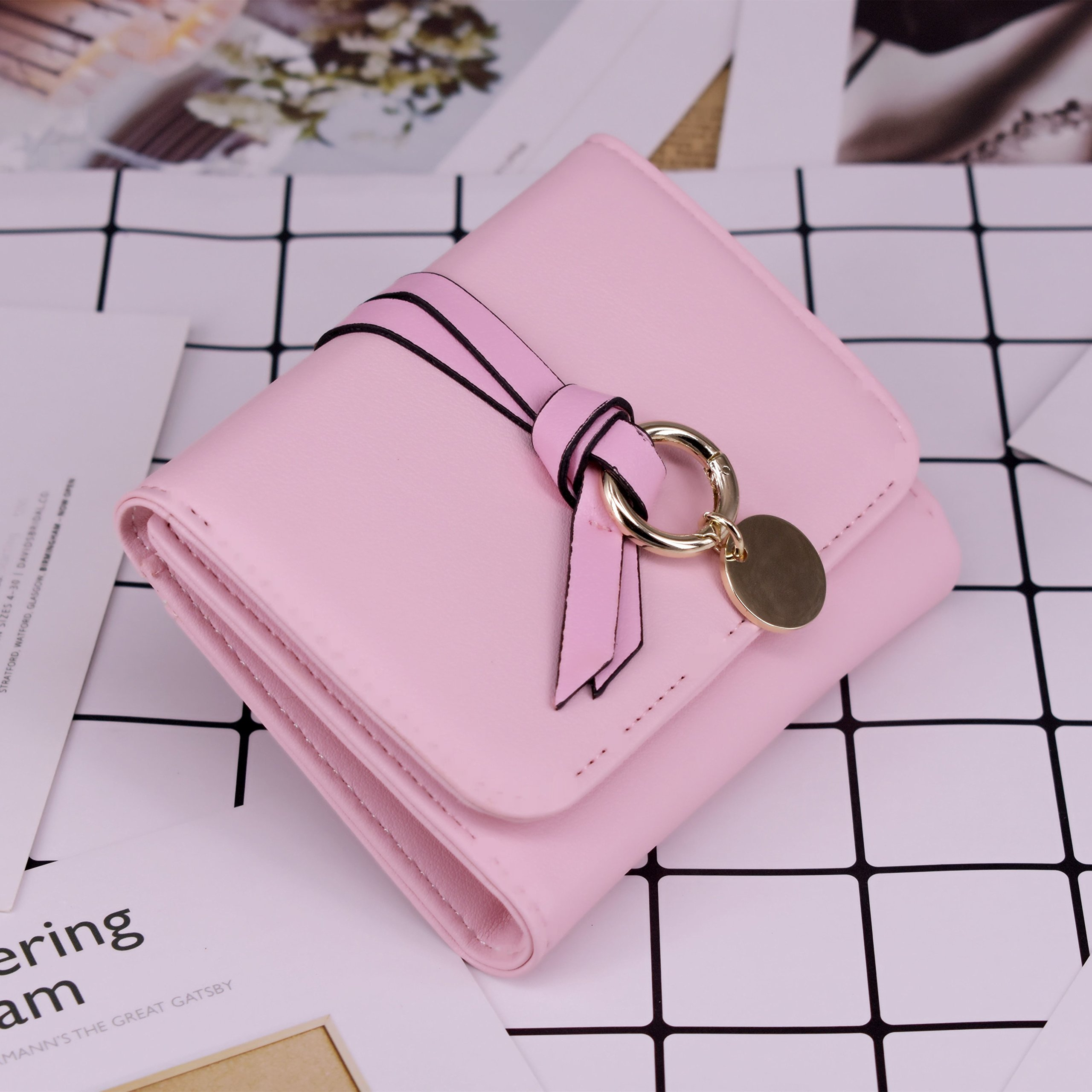 ABC STORY Womens Cute Pink Purse Card Holder Small Trifold Wallets For Teen Girls by ABC STORY (Image #2)