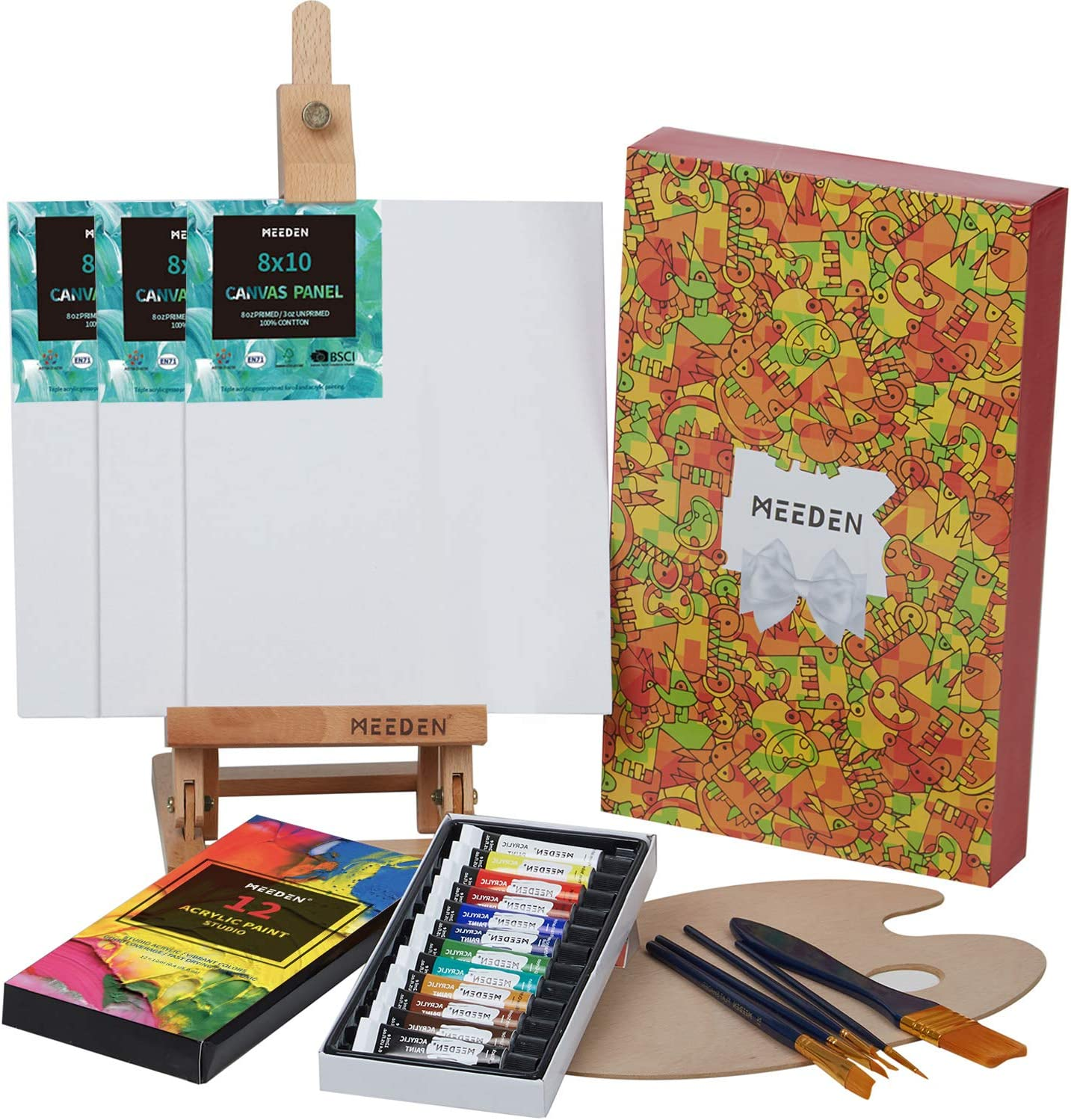 MEEDEN 22-Pcs Acrylic Painting Set with 16.8'' Tabletop Easel, 12 Colors Acrylic Paints, 3 Canvas Panels, 5 Paint Brushes & Wooden Palette, Art Painting Supplies for Kids, Beginners or Budding Artists