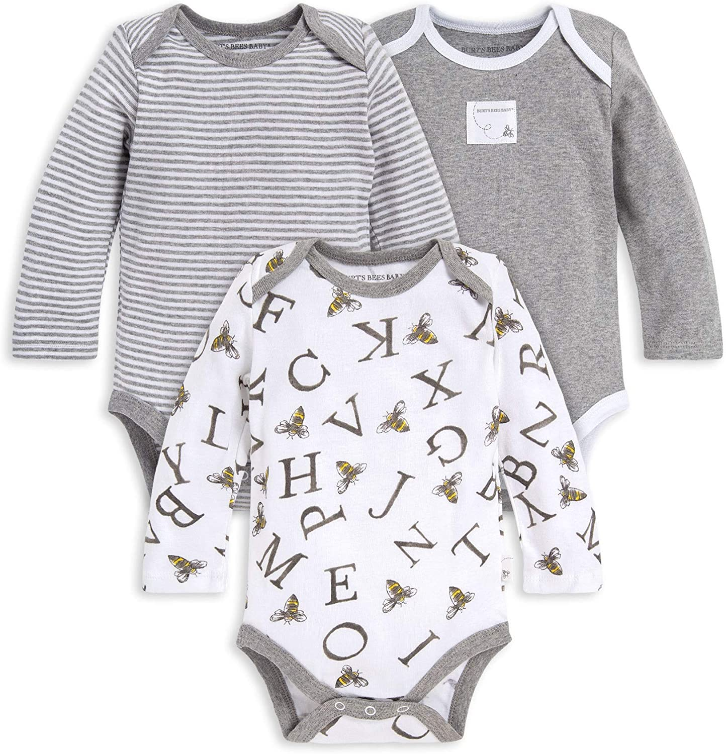 Burt's Bees Baby Baby Boys' Bodysuits, 3-Pack Long & Short-Sleeve One-Pieces, 100% Organic Cotton
