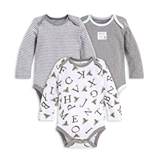 Burt's Bees Baby Unisex Baby Bodysuits, 3-Pack Long & Short-Sleeve One-Pieces, 100% Organic Cotton, A-Bee-C, 3-6 Months