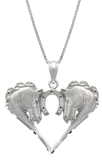 Amazon sterling silver horse with horseshoe necklace pendant sterling silver horse with horseshoe necklace pendant with 18quot aloadofball Gallery