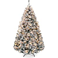 Best Choice Products 6ft Pre-Lit Snow Flocked Artificial Holiday Christmas Pine Tree for Home, Office, Party Decoration…