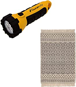 Toucan City LED Flashlight and Home Decorators Collection Winchester Cream/Black 5 ft. x 7 ft. Wool Area Rug HDW35-002