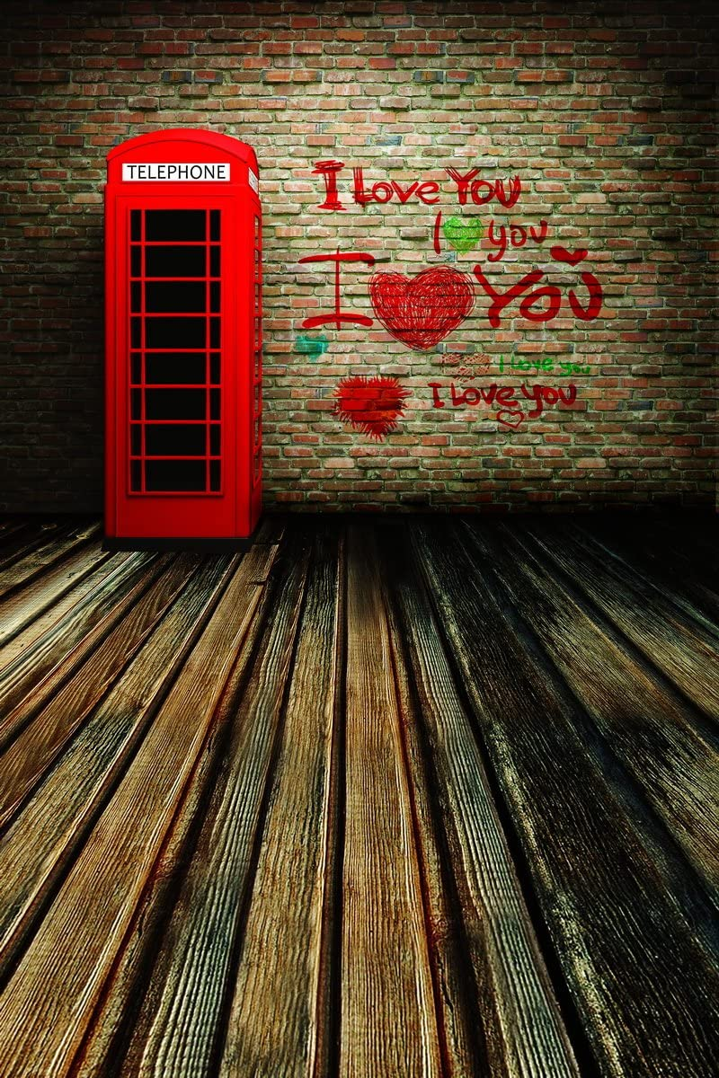W Computer Printed Photography Background Backdrop 98.4 IN 59 IN Brick Wall I Love You 1.52m H