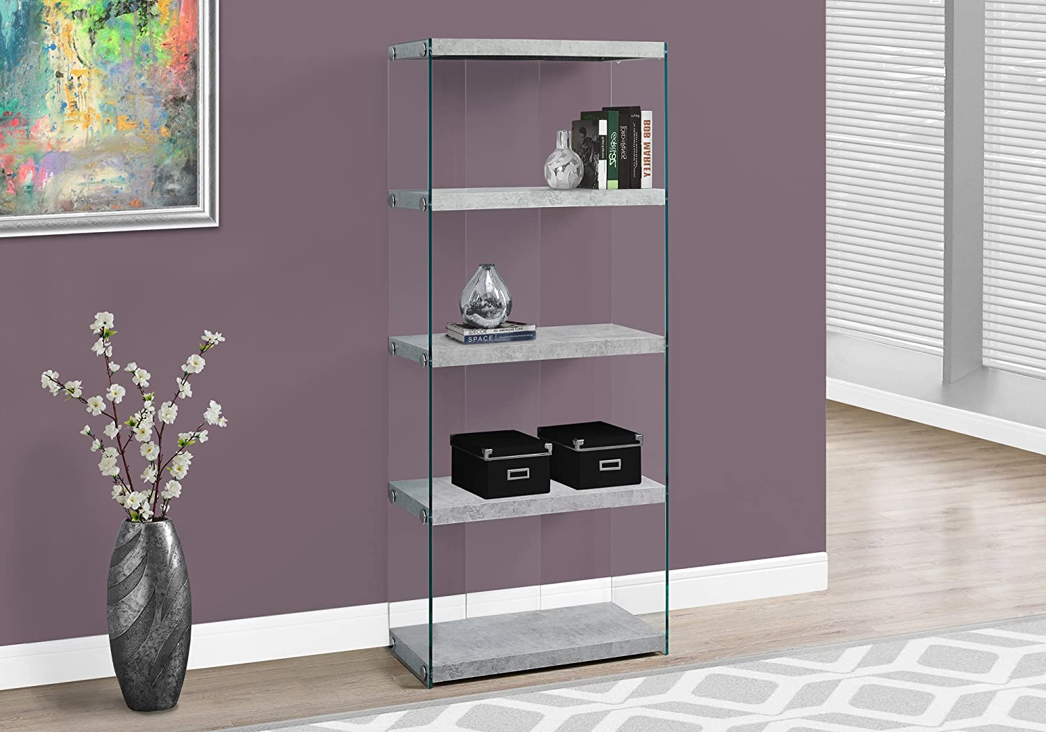 Monarch Specialties Bookcase – 5-Shelf Etagere Bookcase – Contemporary Look with Tempered Glass Frame Bookshelf – 60 H Cement