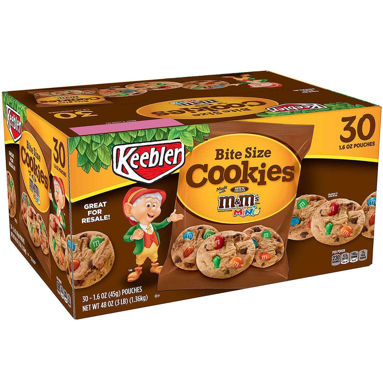 Keebler M&M Bite Size Cookies 30Pack Net 48oz