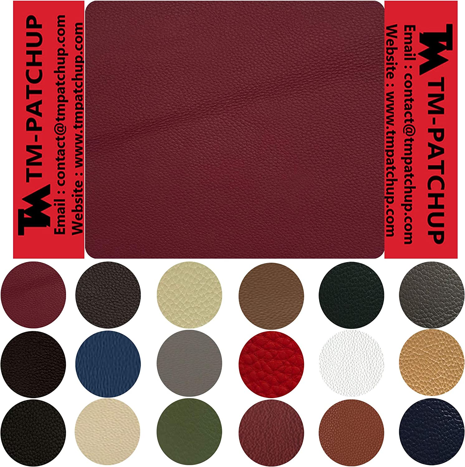 TMpatchup, Burgundy Leather Patches for Furniture, Genuine Leather Repair Patch kit, Peel and Stick for Couch, Sofas, Car Seats, Hand Bags,Furniture, Size 4 x 4 Inch