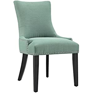 Modway Marquis Modern Upholstered Fabric Parsons Kitchen and Dining Room Chair with Nailhead Trim in Laguna