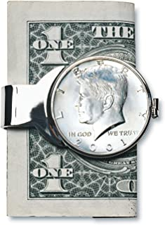 product image for Coin Money Clip - JFK Half Dollar | Brass Moneyclip Layered in Silver-Tone Rhodium | Holds Currency, Credit Cards, Cash | Genuine U.S. Coin | Includes a Certificate of Authenticity