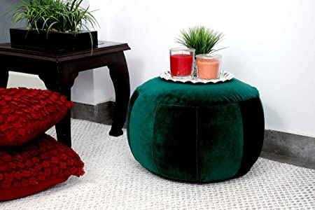 Fernish D cor Velvet Sticthed Ottoman Pouf Footrest 18x18x16 INCH, Living Room Accent seat Dark Green