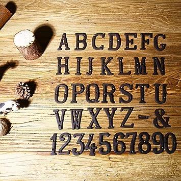 Lanbowo 1 Letras de Metal con n/úmeros de Hierro Fundido para decoraci/ón de casa