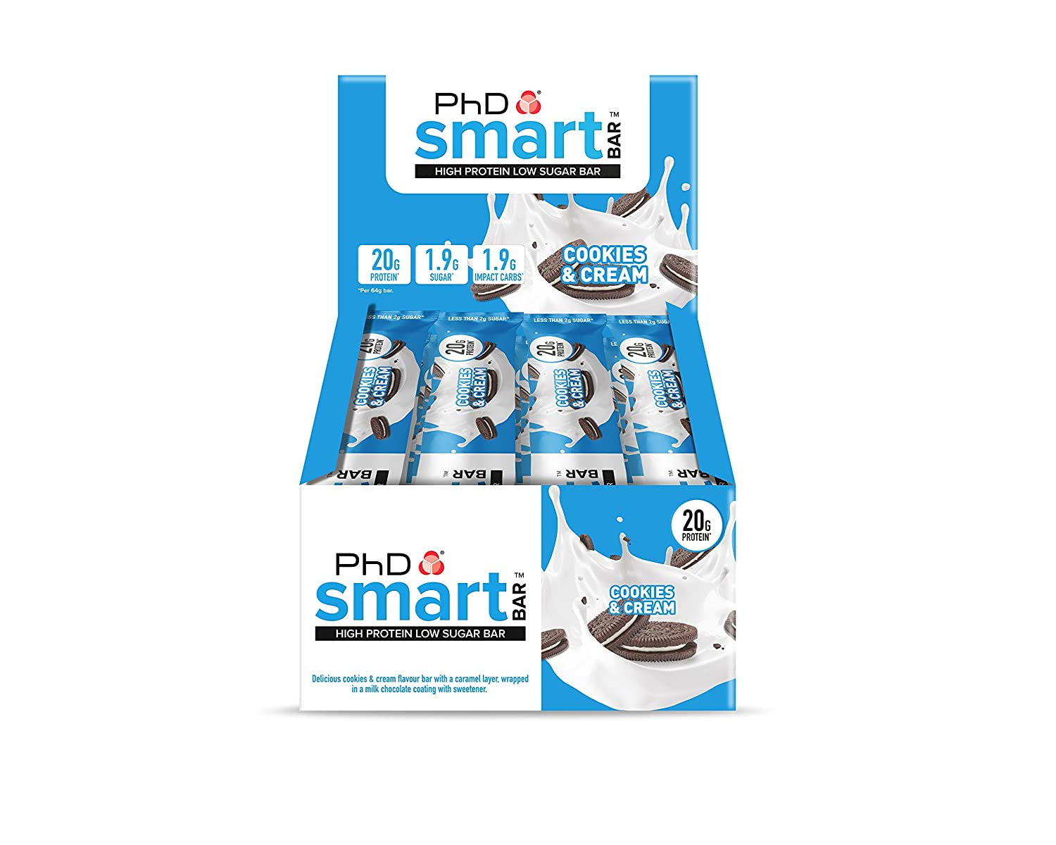 PhD Smart Bar Cookies & Cream - 12 Barras: Amazon.es: Salud y cuidado personal