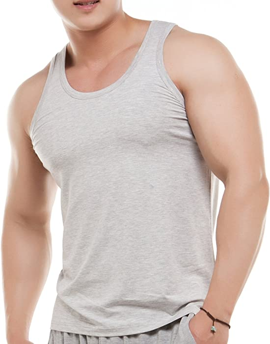 d52cc436155287 worboo Men s 3-Pack Bamboo Viscose Tank Tops (Small