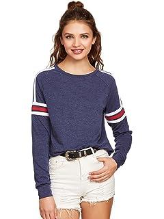 0baa6cf42ae96c ROMWE Damen Sweatshirt Pullover Sportlich Baumwolle mit Streifen ...