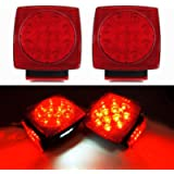 iBrightstar IP68 Waterproof Square Trailer Lights kit, Red Brake Stop Tail Running License LED Light Lamp for 12V Camper…