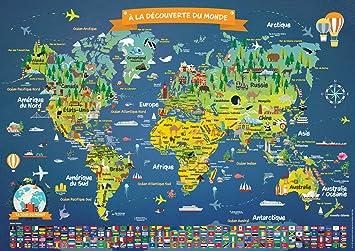 Poster Carte Du Monde Pour Enfants En Français Grand Planisphère