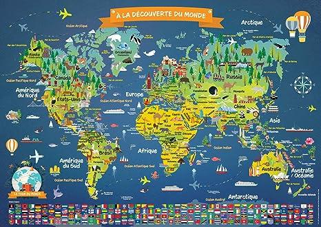 Carte Du Monde Nom.Poster Carte Du Monde Pour Enfants En Francais Grand Planisphere Mural Illustre Noms Des Pays Drapeaux Decoration Murale Chambre Enfant