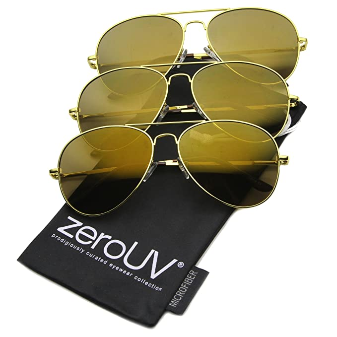 218ffea943a4 zeroUV - Mirrored Aviator Sunglasses for Men Women Military Sunglasses  (3-Pack (Gold