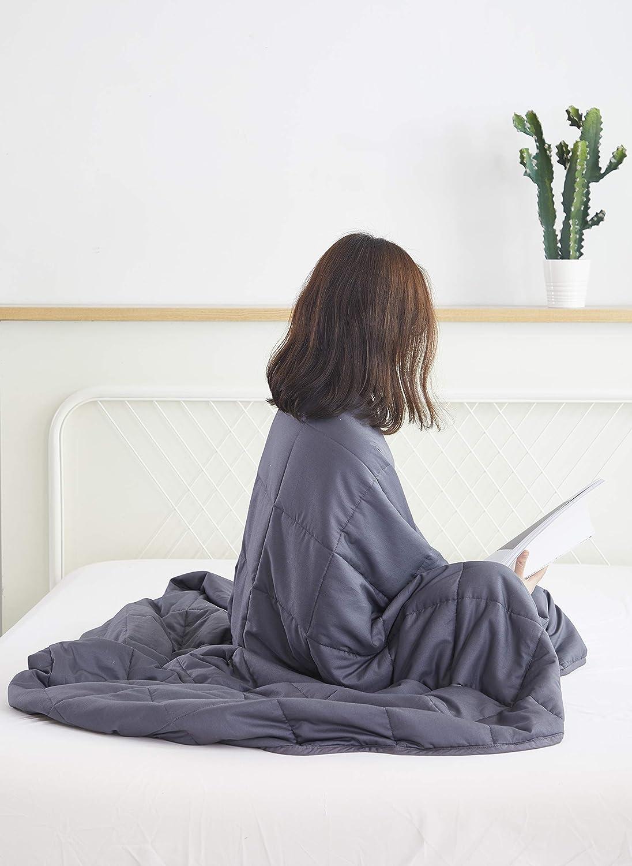 DECMAY Gewichtsdecke Beschwerte Decke 100% Baumwolle 7KG TherapieDecke für Kinder & Erwachsen als Schlafhilfe Stress ROTuzieren Schlaflosigkeit Entlasten Schwerkraftdecke zum Besser Schlaf, 150x200cm