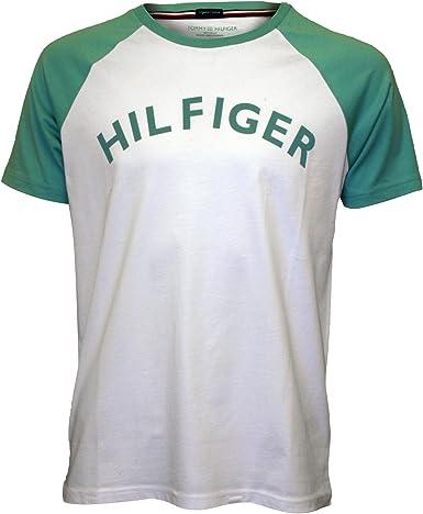 Tommy Hilfiger Camiseta Raglan Logo Cuello Redondo Algodón Orgánico De Los Hombres, Blanco/Menta X-Grande: Amazon.es: Ropa y accesorios