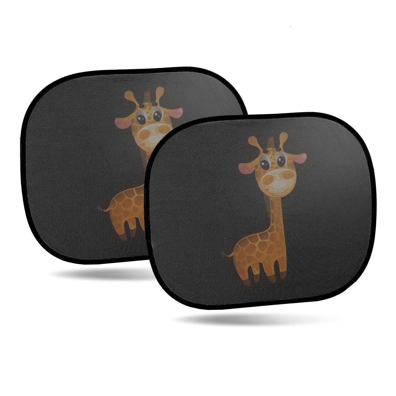 CARTO 2er-Pack selbstklebende Sonnenblenden fü r Autoscheiben, mit niedlichem Giraffenmotiv - Sonnenschutz fü r Kinder und Babys / fü r Seitenscheiben - Selbstklebend Auerbach&Söhne