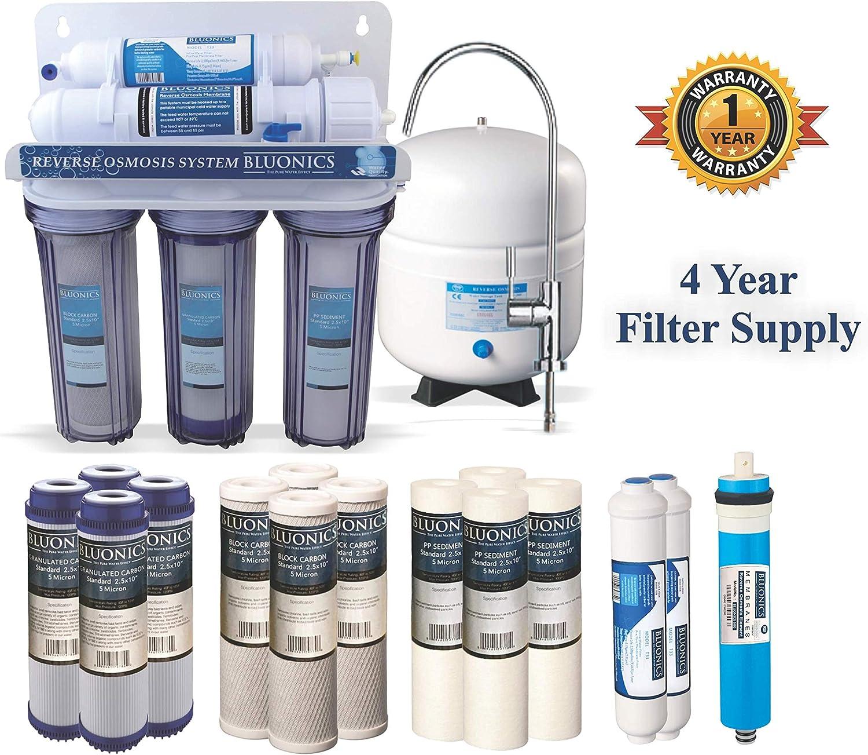 bluonics 5 Etapa Undersink filtro de agua potable de sistema de ósmosis inversa RO casa purificador con NSF membrana ...