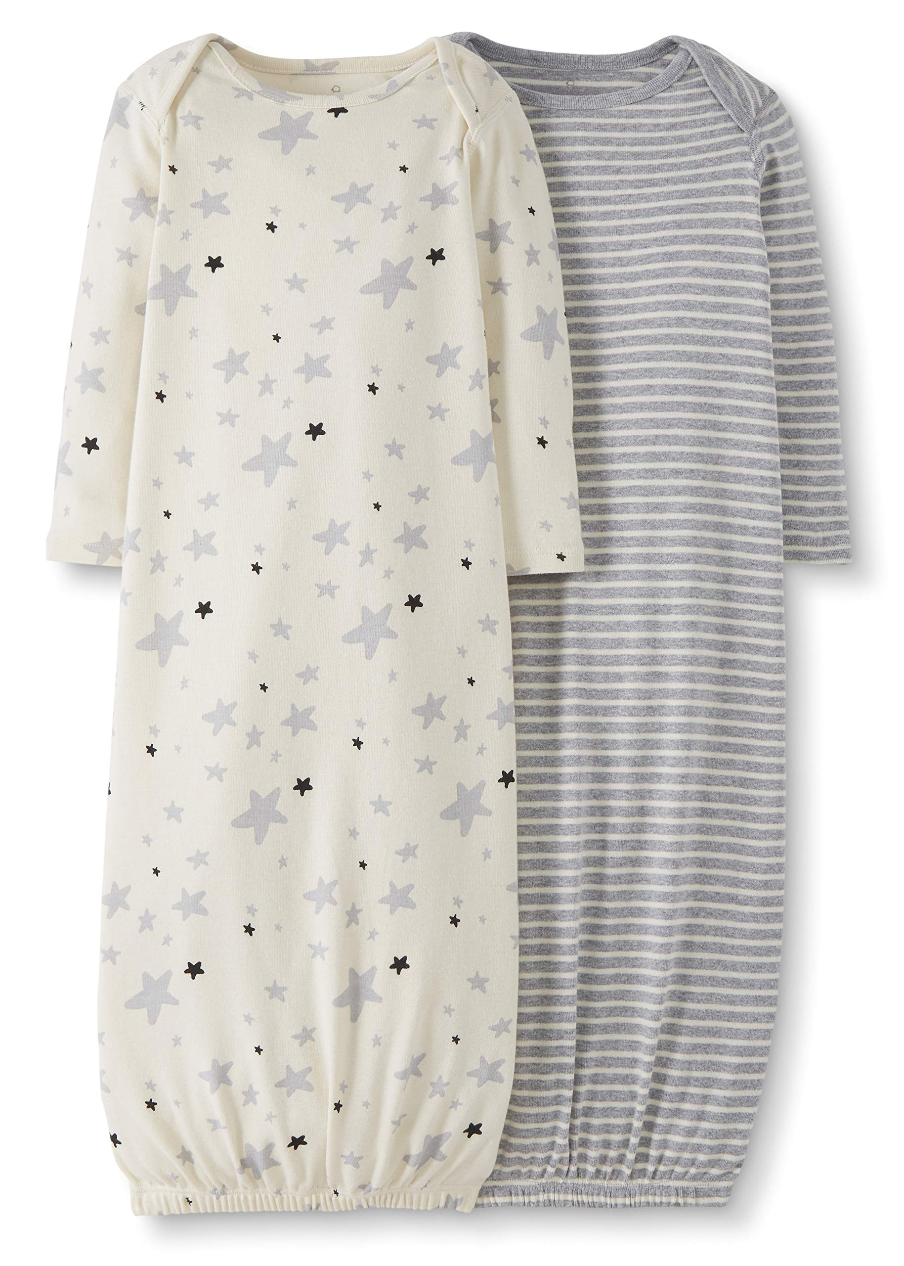 Moon and Back by Hanna Andersson Baby 2-Pack Organic Sleeper Gown, Gray, 3-6 months