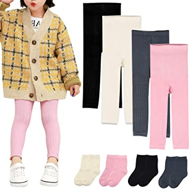 6233d4137917f Amazon.com: BOOPH Kid Girls Leggings Pants Footless Tights Stockings for  Baby Toddler - 4 Legging Pants + 4 Pairs Socks: Clothing